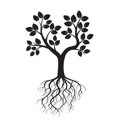Black tree and roots vector