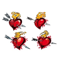 Bleeding hearts with arrows vector