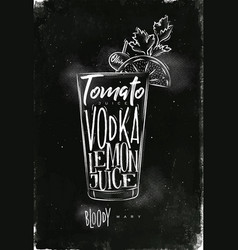 Bloody mary cocktail chalk vector