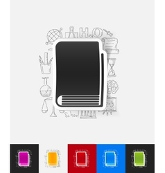 book paper sticker with hand drawn elements vector image