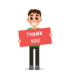 boy holding poster with word thank you vector image