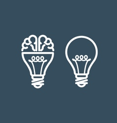 Brain in light bulb - idea and thinking concept vector
