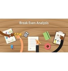 break even analysis with team work vector image