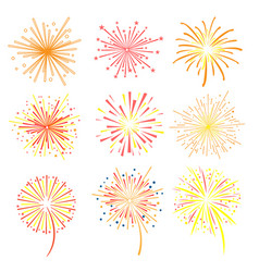 Brightly celebration fireworks set holiday and vector