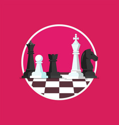business strategy with chess figures on a chess vector image