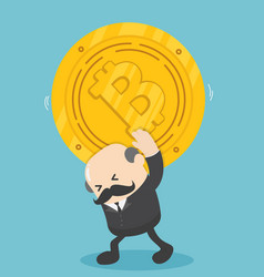 businessman carrying bits of coin depict the vector image