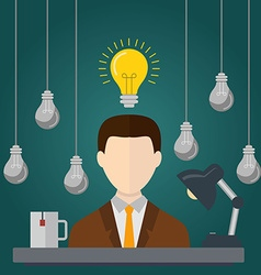 Businessman with ideas Businessman with light vector image