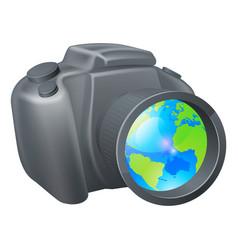 Camera globe concept vector