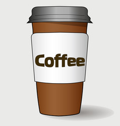cardboard realistic cup of coffee with the vector image