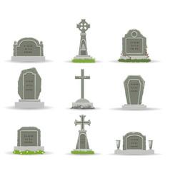 cartoon gravestones and tombs vector image
