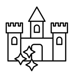castle thin line icon medieval castle with stars vector image