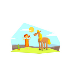 Cheerful cowboy character and horse in desert vector