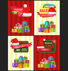 Christmas sale poster wrapped present promo label vector