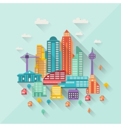 Cityscape with buildings in flat design style vector