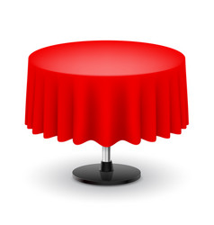classic round table with red cloth isolated on vector image