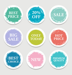 colorful paper circle sticker label vector image