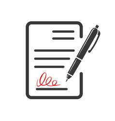 contract document icon agreement and signature vector image