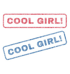 Cool girl exclamation textile stamps vector