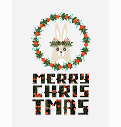 cute christmas card with a picture a rabbit vector image