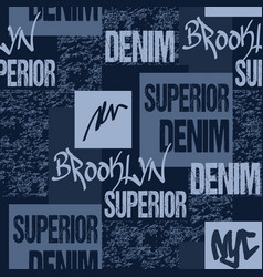 denim typography brooklyn new york artwork apparel vector image