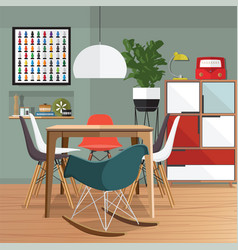 Dining room furniture vector