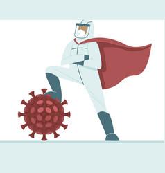 doctor triumphs over coronavirus pandemic vector image