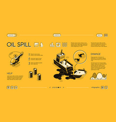 Ecological disaster in sea web banner vector