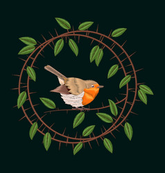 Embroidery blackthorn branches and robin bird vector