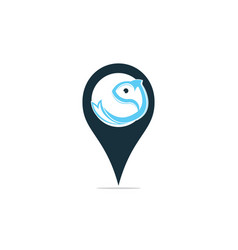 Fish logo with gps pointer design vector