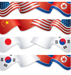 flags usa vs china korea and japan vector image