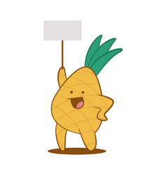 funny pineapple with empty board character vector image