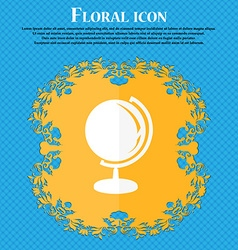Globe icon Floral flat design on a blue abstract vector