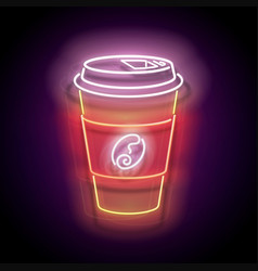 glow paper cup coffee vector image