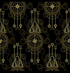 gold compass seamless pattern vector image
