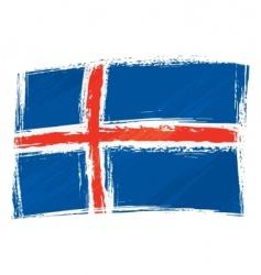 grunge Iceland flag vector image