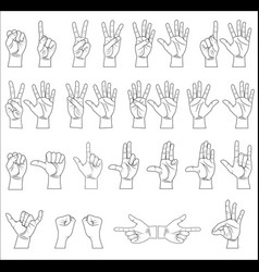 Hand collection - line vector