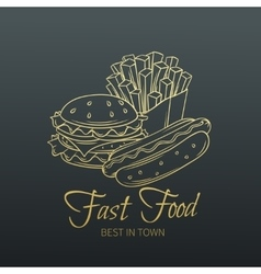 Hand drawn Fast food in old slyle vector image