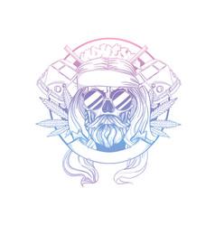 hand drawn sketch hippie skull vector image