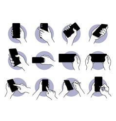 hand holding and using smart phone with black vector image