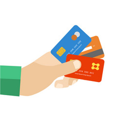 hand with credit cards vector image