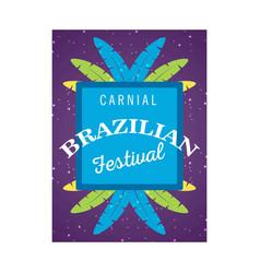 Happy brazilian carnival day purple color vector