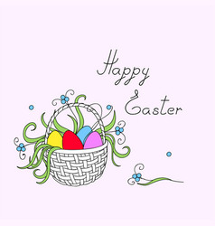 happy easter with easter eggs flowers in the vector image