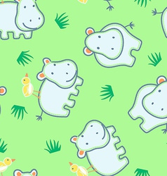 Happy hippo with friendly bird seamless pattern vector image