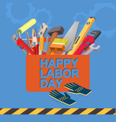 happy labor day isometric tool icon vector image