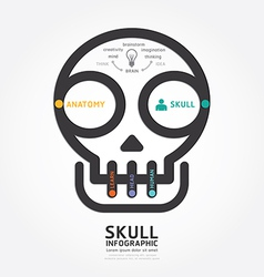 infographics skull and brain design diagram line vector image