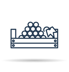 isolated icon of picking grapes in the basket vector image