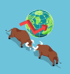isometric bulls fighting with world and growth vector image