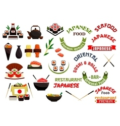 Japanese cuisine restaurant labels ribbons vector image