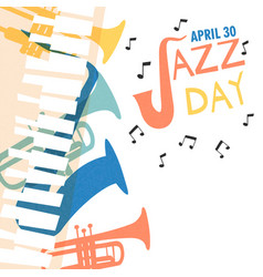 Jazz day poster of colorful music band instruments vector