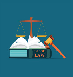 Labor law books with a judges gavel in flat style vector